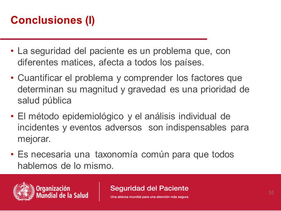 Conclusiones (I) La seguridad del paciente es un problema que, con diferentes matices, afecta a todos los países.