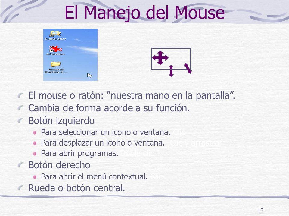 El Manejo del Mouse El mouse o ratón: nuestra mano en la pantalla .