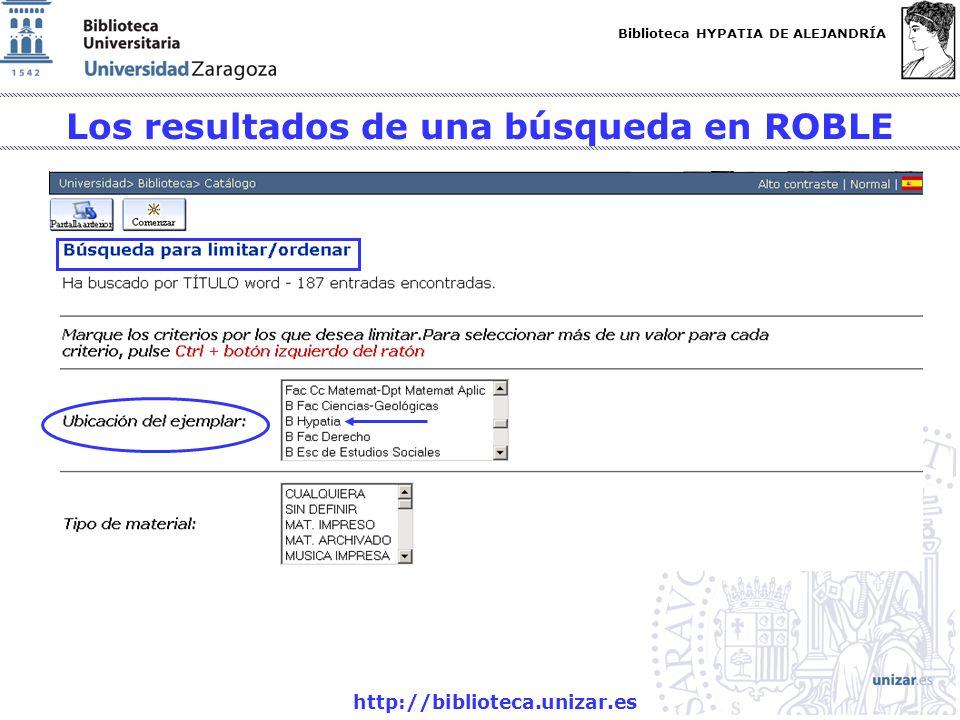 Los resultados de una búsqueda en ROBLE