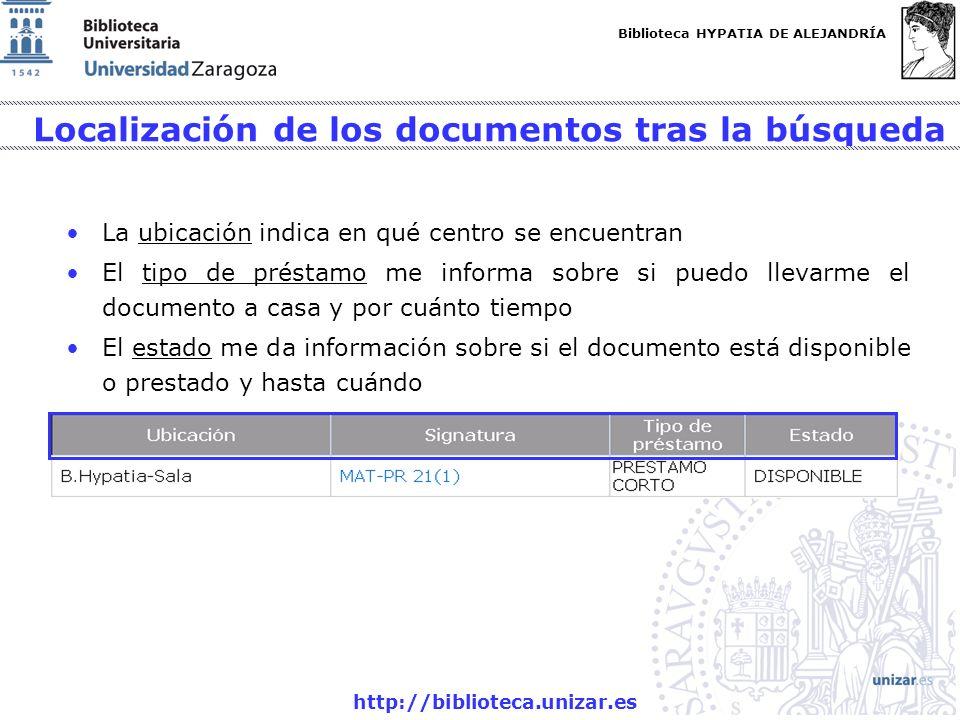 Localización de los documentos tras la búsqueda