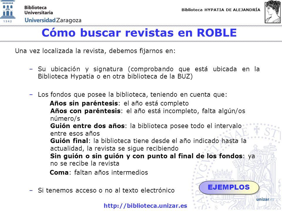 Cómo buscar revistas en ROBLE