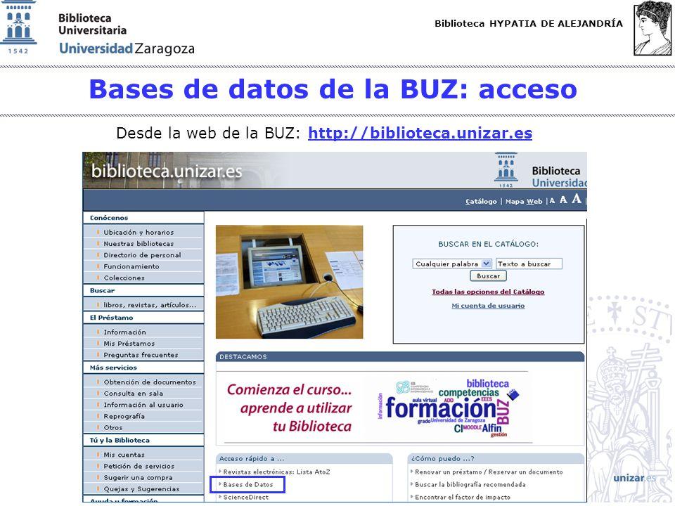 Bases de datos de la BUZ: acceso