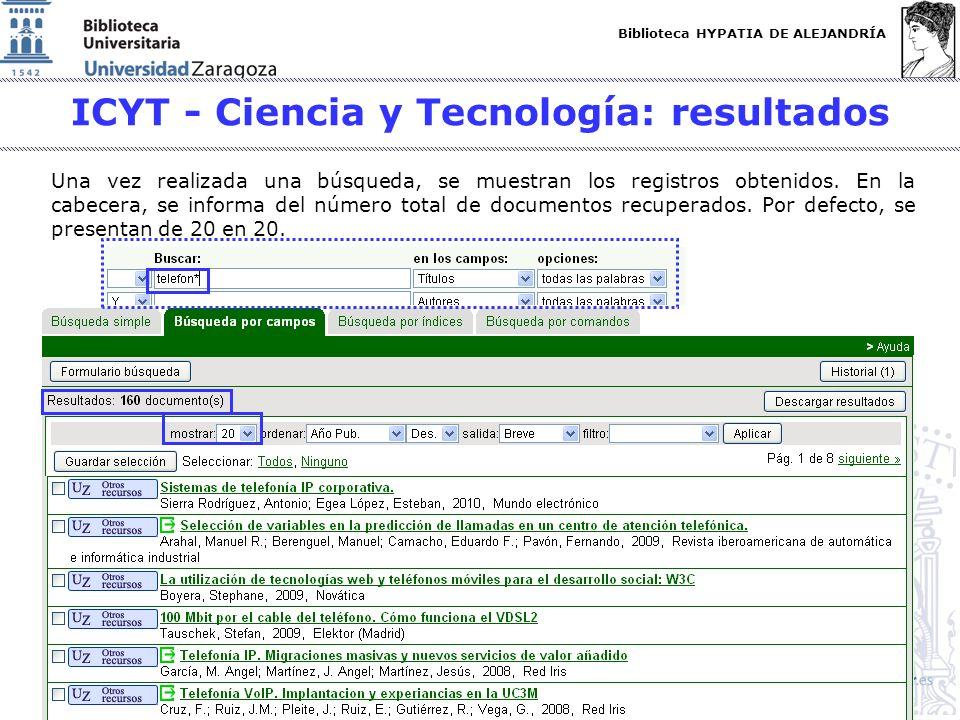 ICYT - Ciencia y Tecnología: resultados