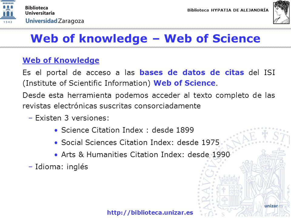 Web of knowledge – Web of Science