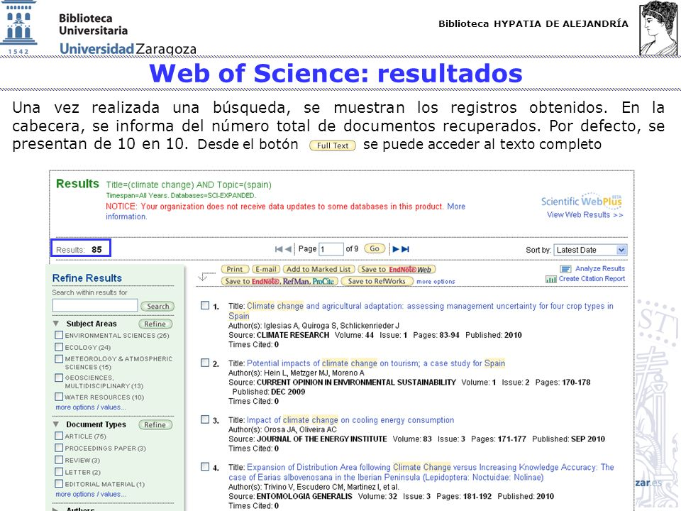 Web of Science: resultados