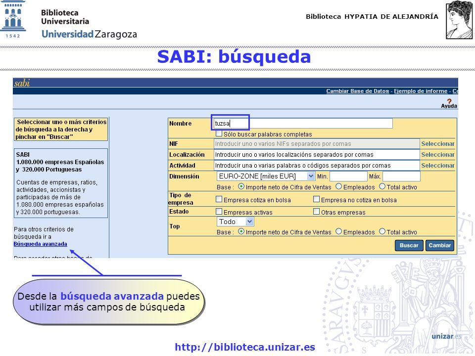 SABI: búsqueda Desde la búsqueda avanzada puedes