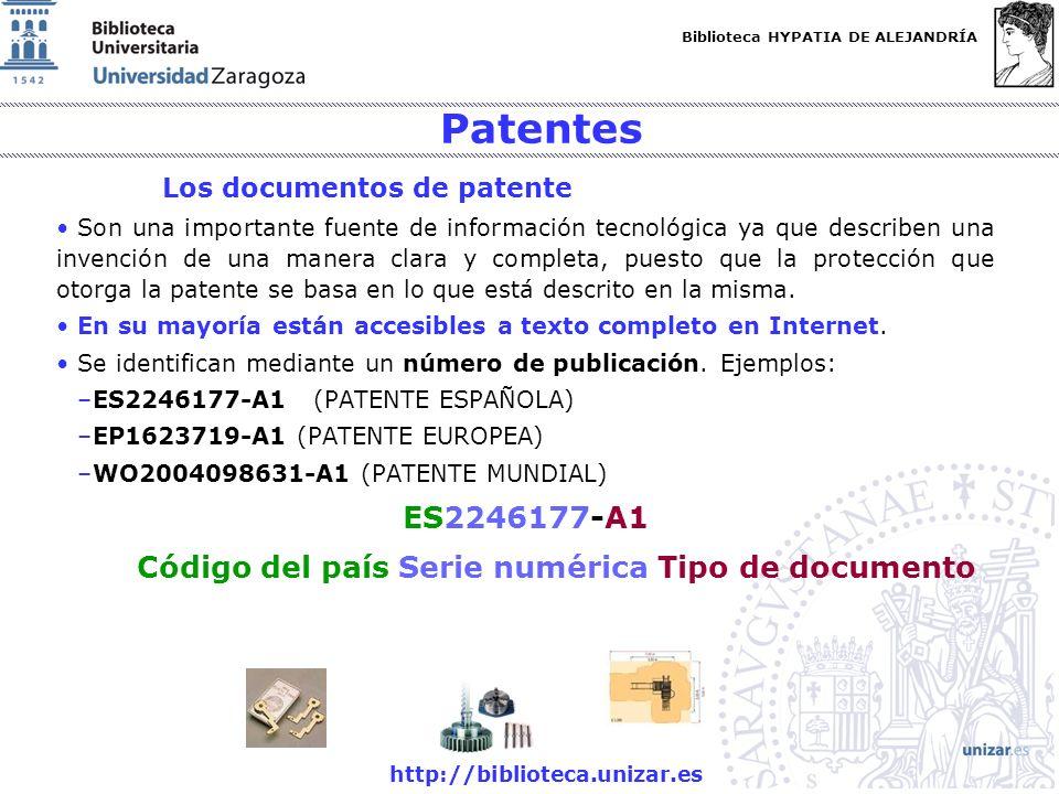 Patentes ES2246177-A1 Código del país Serie numérica Tipo de documento