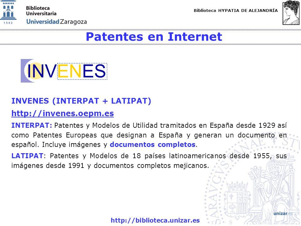 Patentes en Internet INVENES (INTERPAT + LATIPAT)