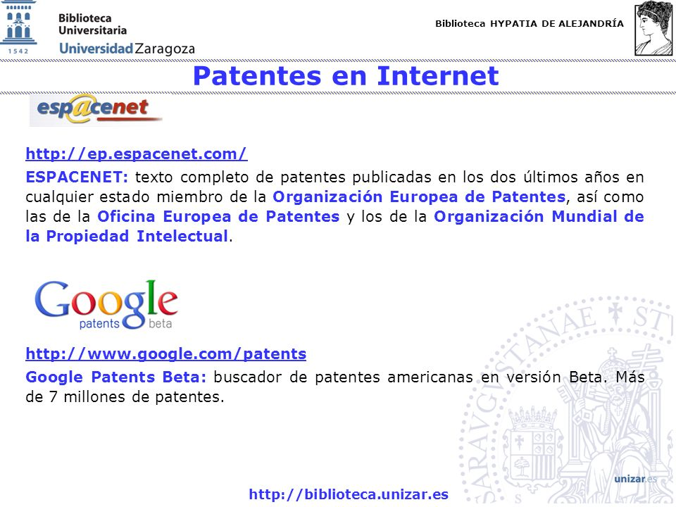Patentes en Internet http://ep.espacenet.com/