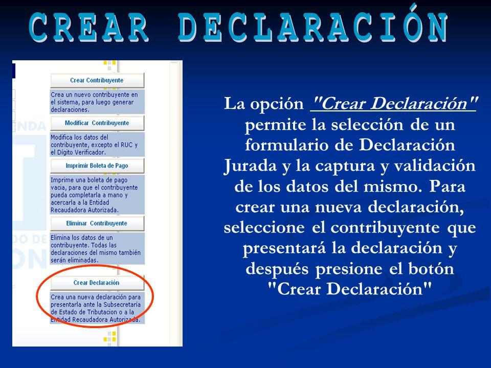 CREAR DECLARACIÓN