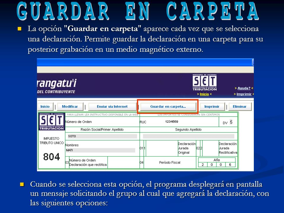 GUARDAR EN CARPETA