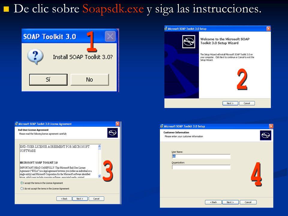 De clic sobre Soapsdk.exe y siga las instrucciones.