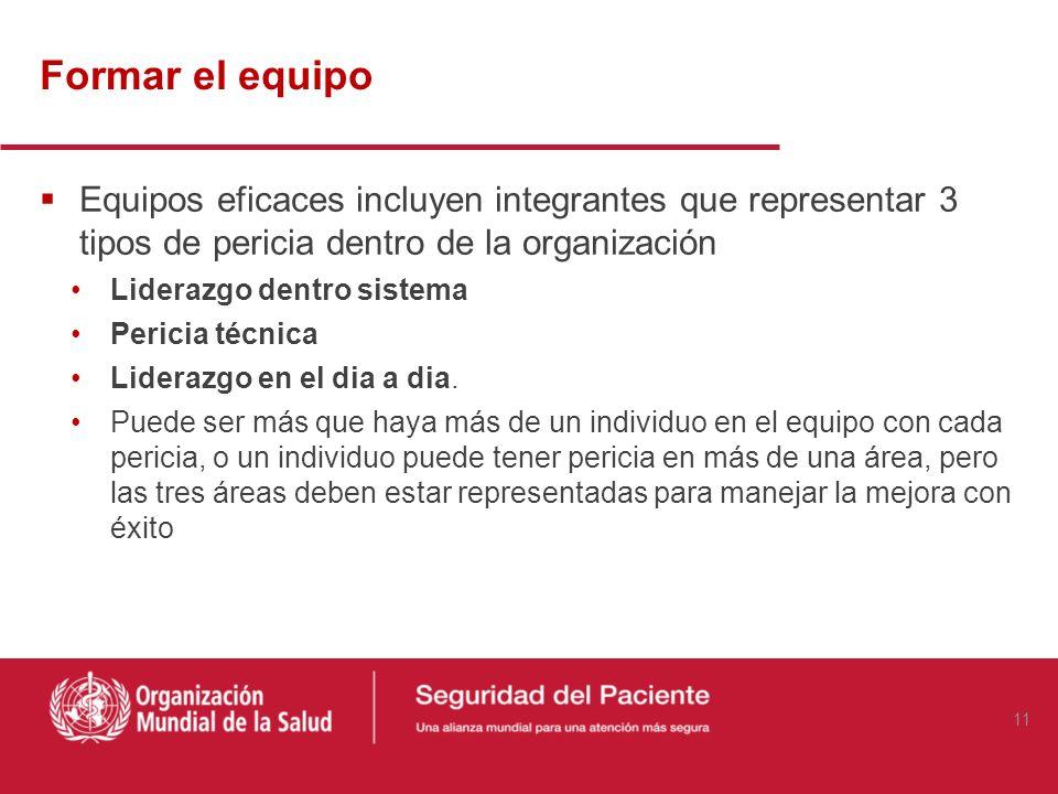 Formar el equipo Equipos eficaces incluyen integrantes que representar 3 tipos de pericia dentro de la organización.