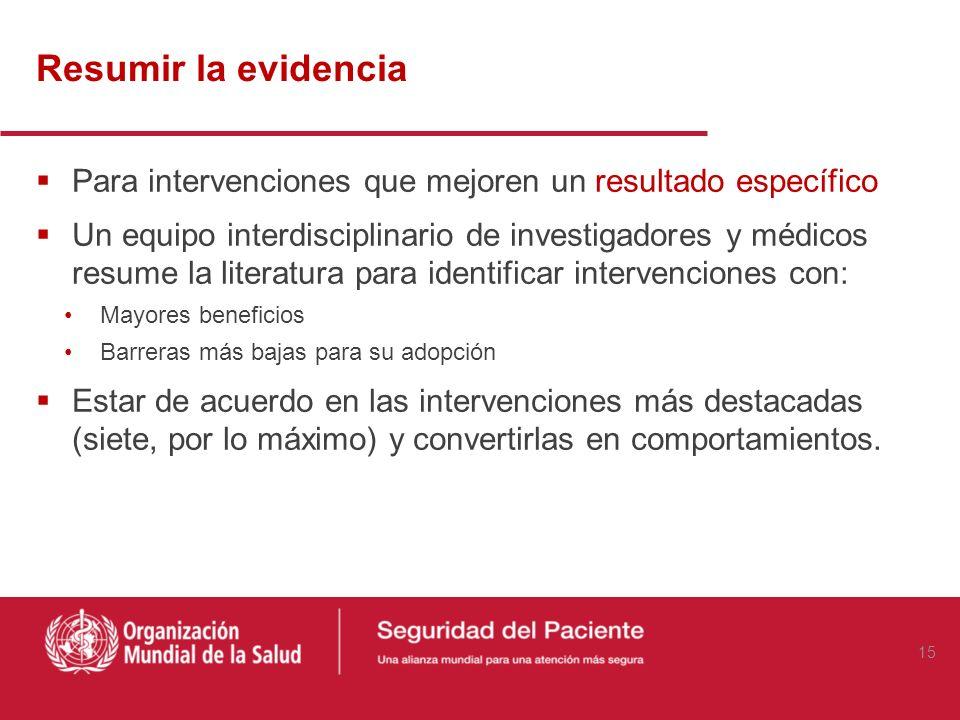 Resumir la evidencia Para intervenciones que mejoren un resultado específico.