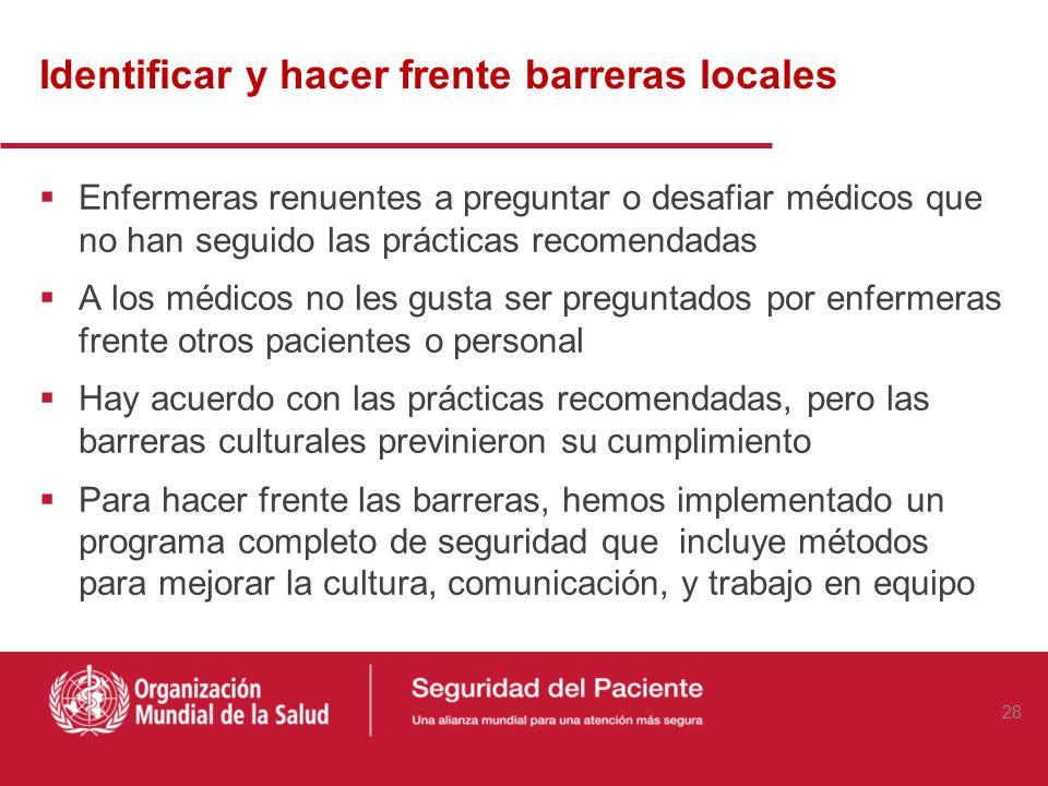Identificar y hacer frente barreras locales