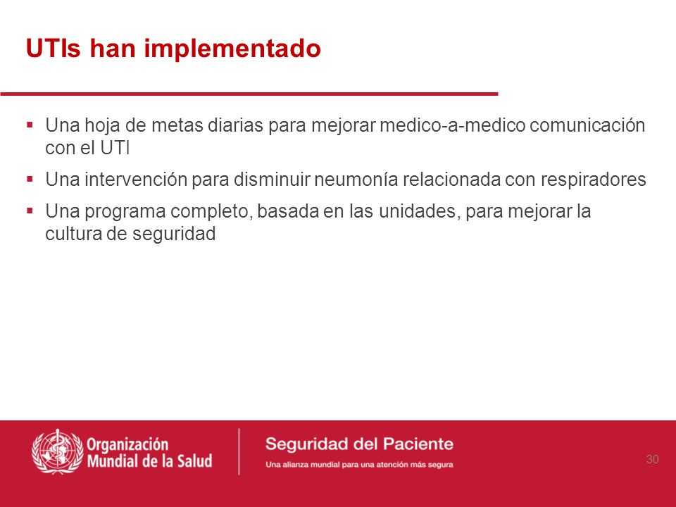 UTIs han implementado Una hoja de metas diarias para mejorar medico-a-medico comunicación con el UTI.