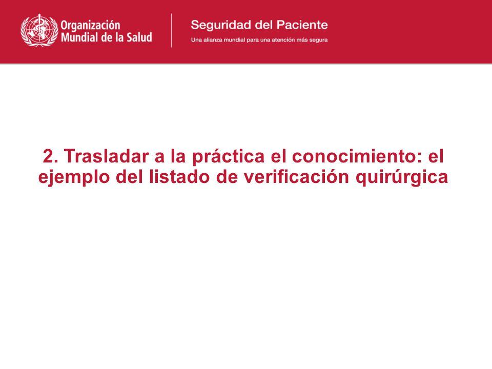 2. Trasladar a la práctica el conocimiento: el ejemplo del listado de verificación quirúrgica