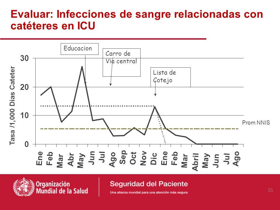 Evaluar: Infecciones de sangre relacionadas con catéteres en ICU