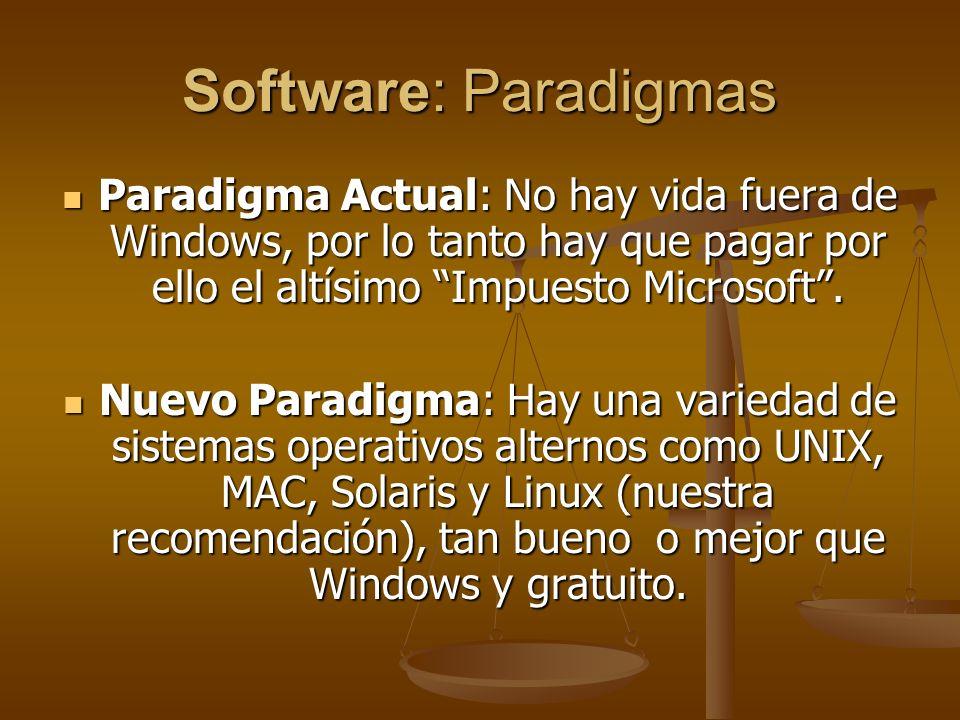 Software: Paradigmas Paradigma Actual: No hay vida fuera de Windows, por lo tanto hay que pagar por ello el altísimo Impuesto Microsoft .