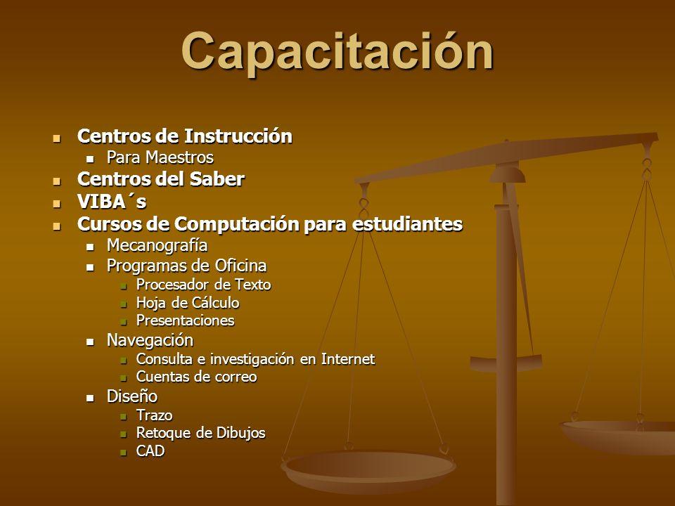 Capacitación Centros de Instrucción Centros del Saber VIBA´s