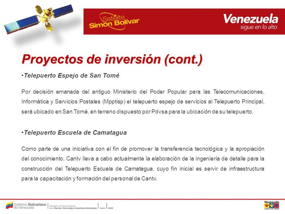 Proyectos de inversión (cont.)