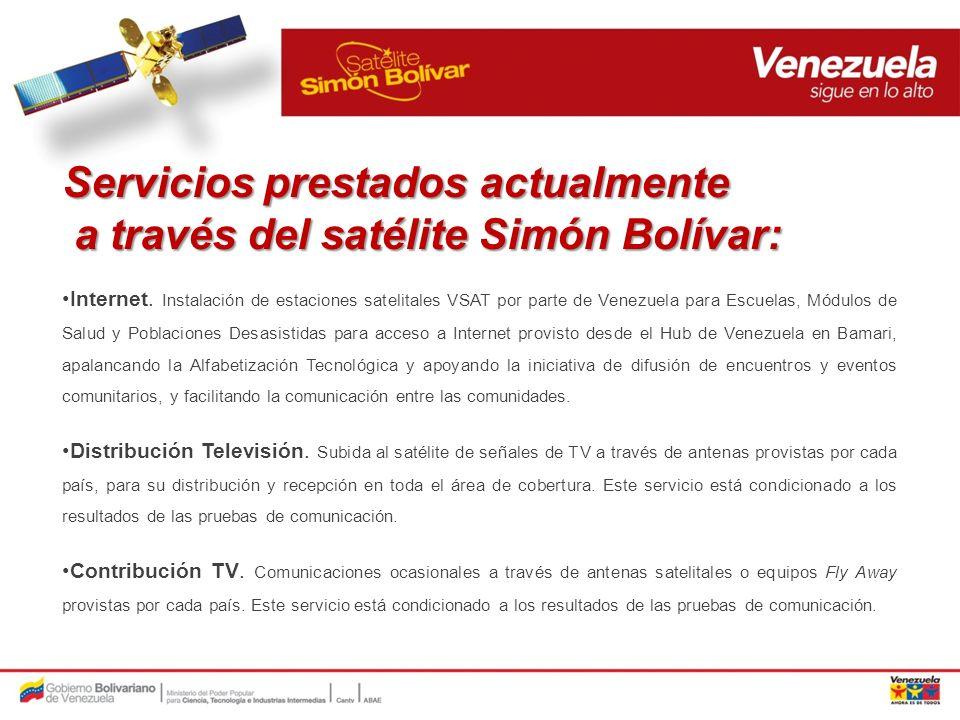 Servicios prestados actualmente a través del satélite Simón Bolívar: