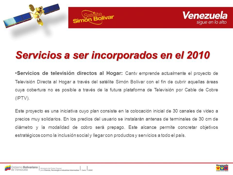 Servicios a ser incorporados en el 2010