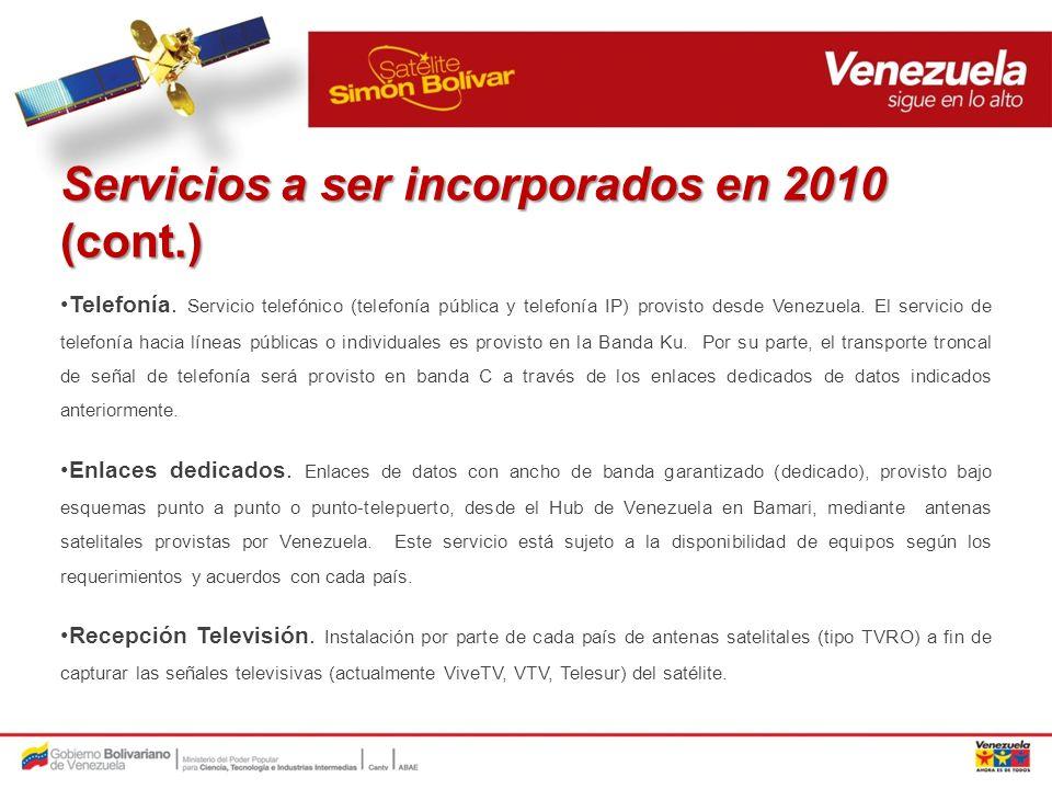 Servicios a ser incorporados en 2010 (cont.)