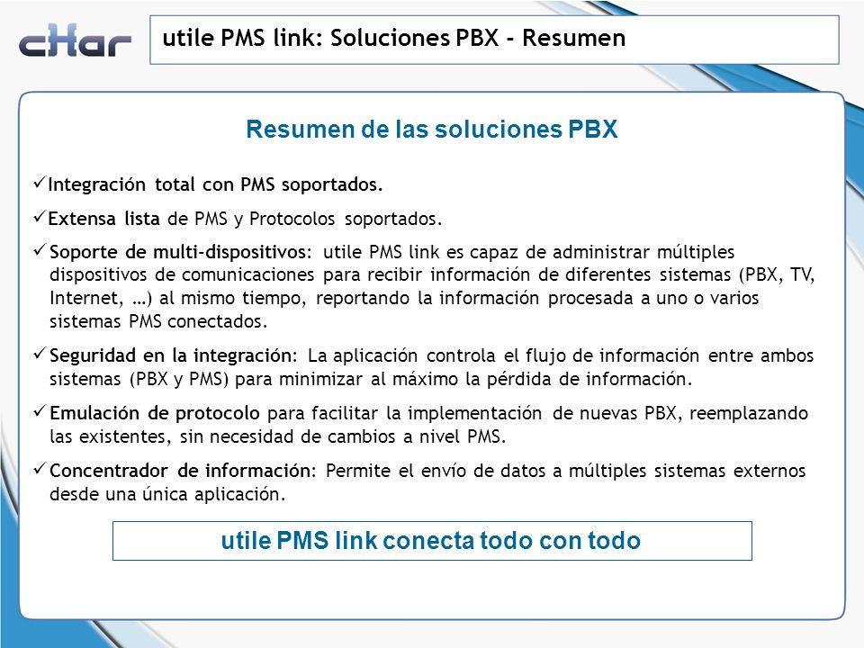 Resumen de las soluciones PBX utile PMS link conecta todo con todo