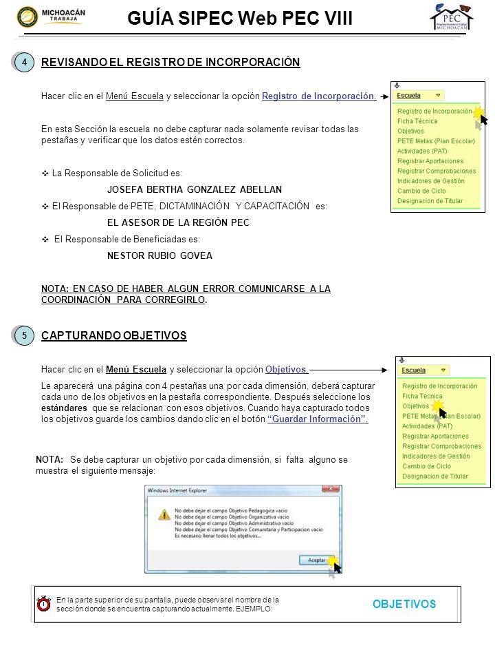 GUÍA SIPEC Web PEC VIII REVISANDO EL REGISTRO DE INCORPORACIÓN