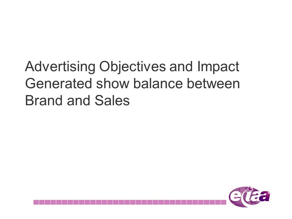 Advertising Objectives and Impact Generated show balance between Brand and Sales