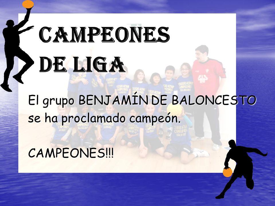 Campeones de Liga El grupo BENJAMÍN DE BALONCESTO