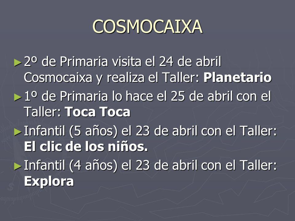 COSMOCAIXA 2º de Primaria visita el 24 de abril Cosmocaixa y realiza el Taller: Planetario.