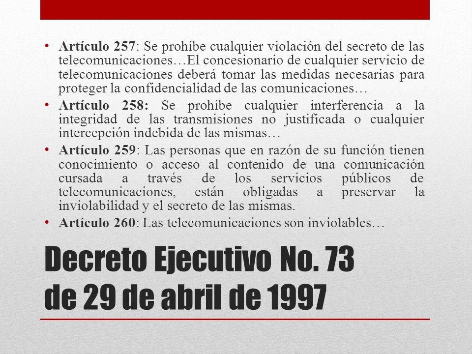Decreto Ejecutivo No. 73 de 29 de abril de 1997
