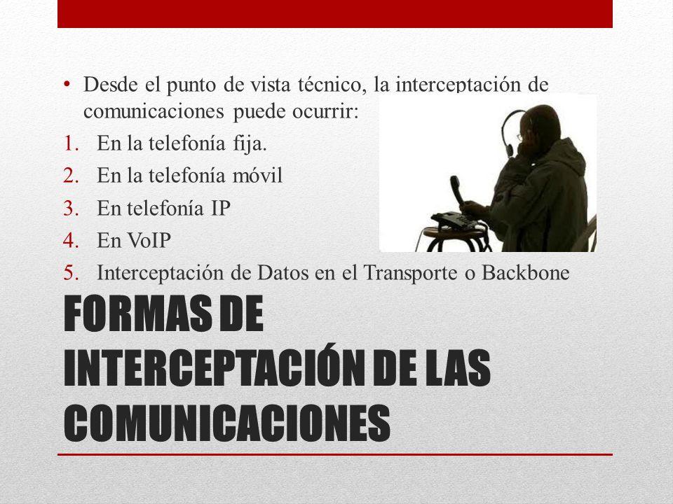 FORMAS DE INTERCEPTACIÓN DE LAS COMUNICACIONES