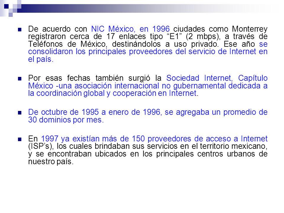 De acuerdo con NIC México, en 1996 ciudades como Monterrey registraron cerca de 17 enlaces tipo E1 (2 mbps), a través de Teléfonos de México, destinándolos a uso privado. Ese año se consolidaron los principales proveedores del servicio de Internet en el país.