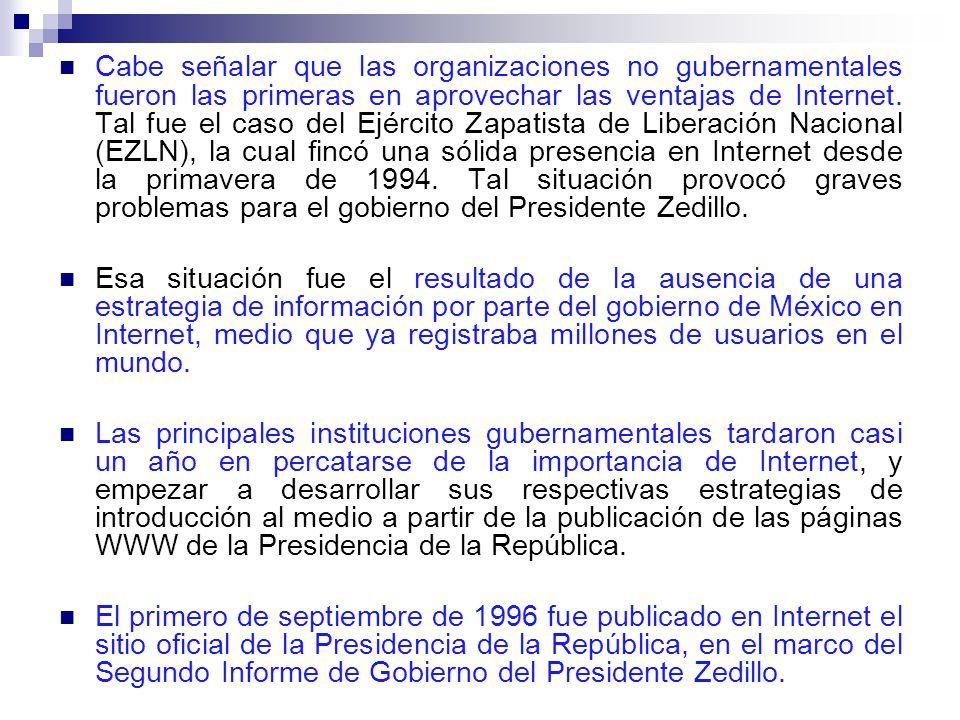 Cabe señalar que las organizaciones no gubernamentales fueron las primeras en aprovechar las ventajas de Internet. Tal fue el caso del Ejército Zapatista de Liberación Nacional (EZLN), la cual fincó una sólida presencia en Internet desde la primavera de 1994. Tal situación provocó graves problemas para el gobierno del Presidente Zedillo.