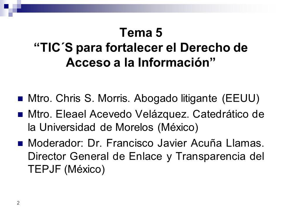 Tema 5 TIC´S para fortalecer el Derecho de Acceso a la Información