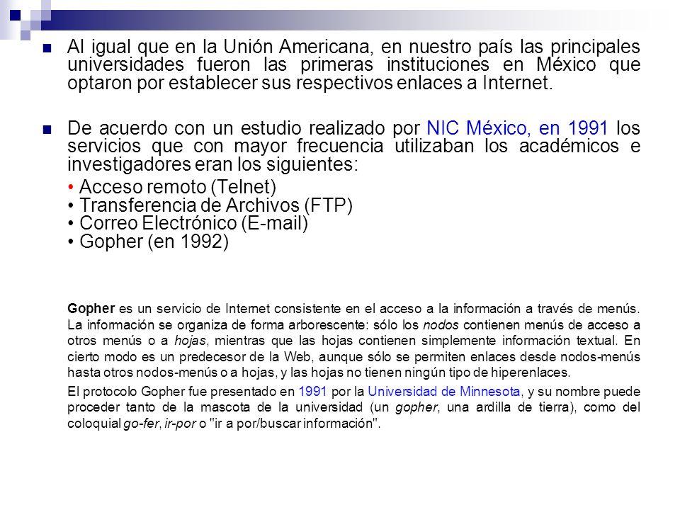 Al igual que en la Unión Americana, en nuestro país las principales universidades fueron las primeras instituciones en México que optaron por establecer sus respectivos enlaces a Internet.