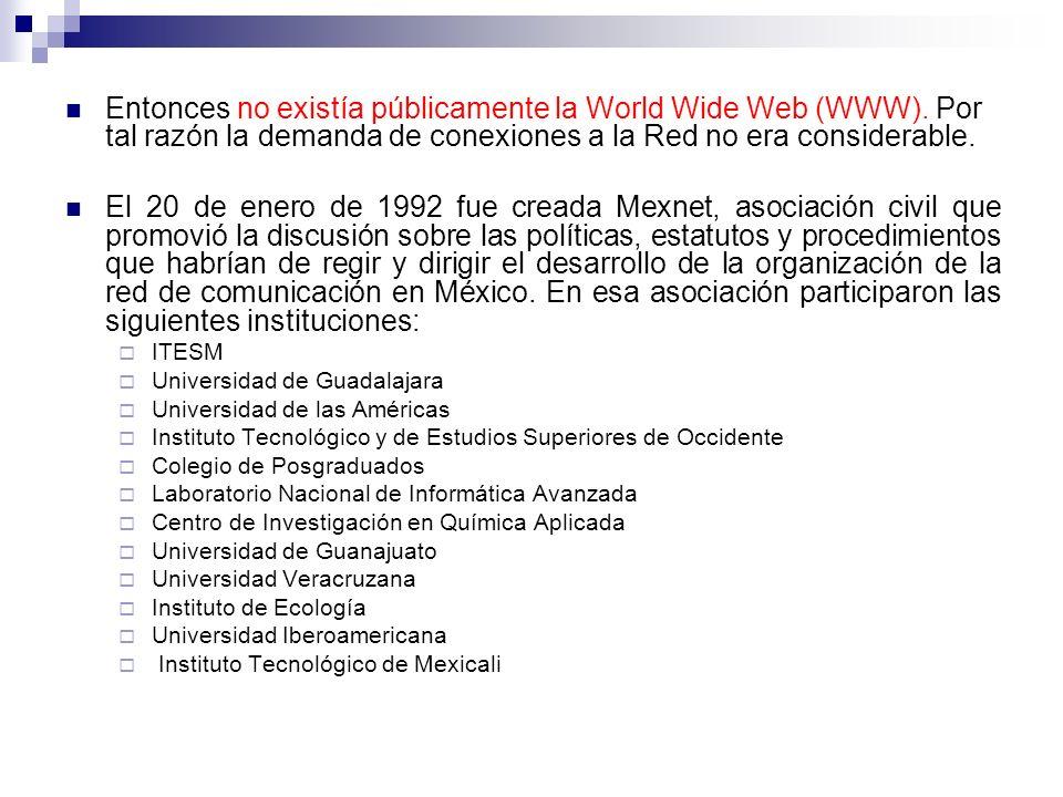 Entonces no existía públicamente la World Wide Web (WWW)