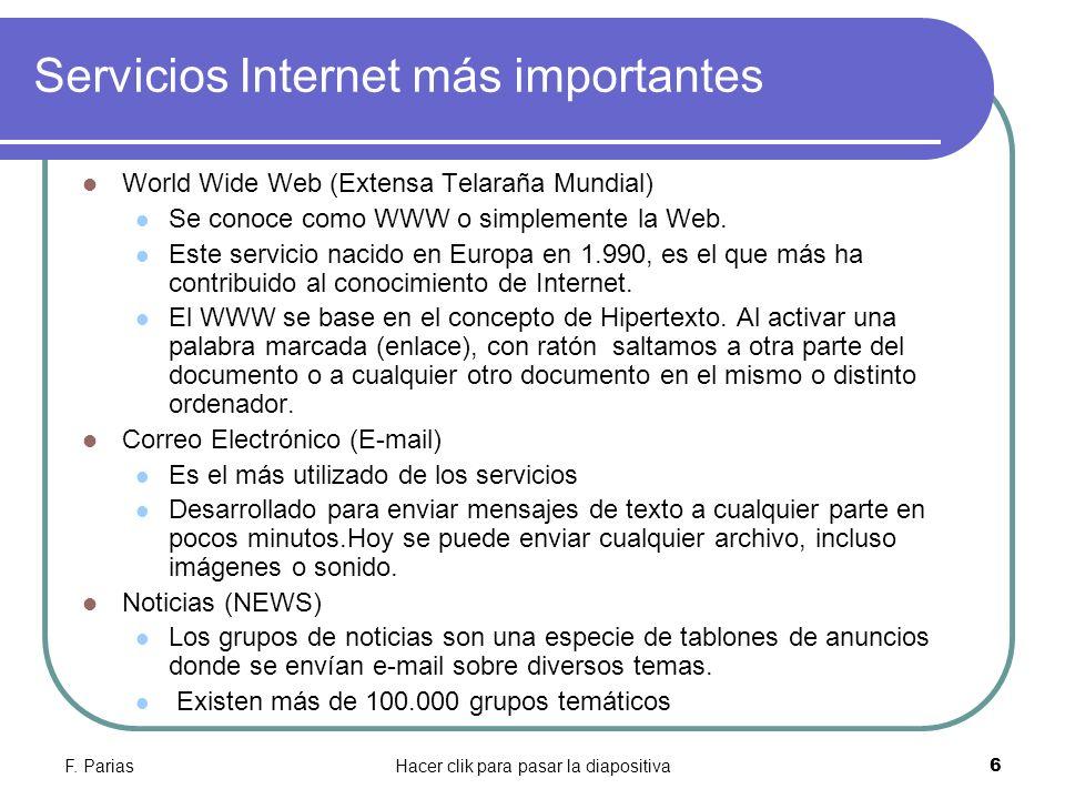 Servicios Internet más importantes