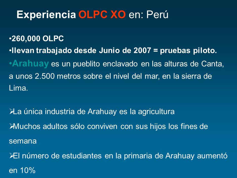 Experiencia OLPC XO en: Perú