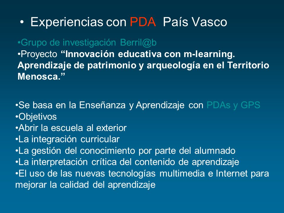 Experiencias con PDA País Vasco