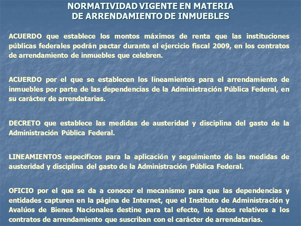 NORMATIVIDAD VIGENTE EN MATERIA DE ARRENDAMIENTO DE INMUEBLES