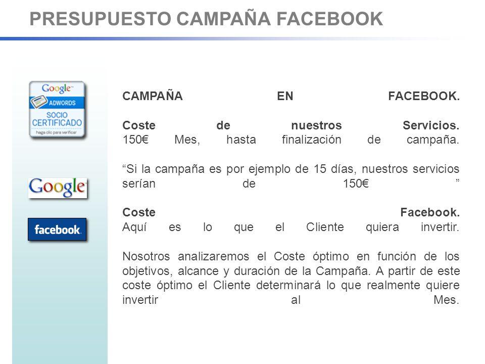 PRESUPUESTO CAMPAÑA FACEBOOK