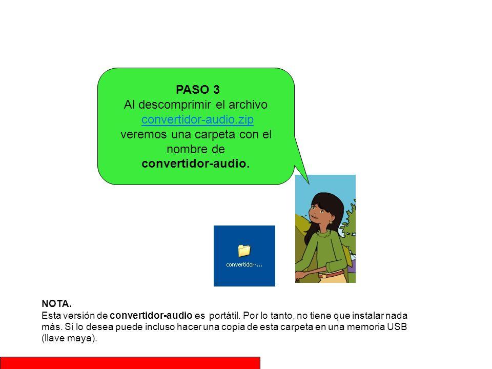 PASO 3 Al descomprimir el archivo convertidor-audio