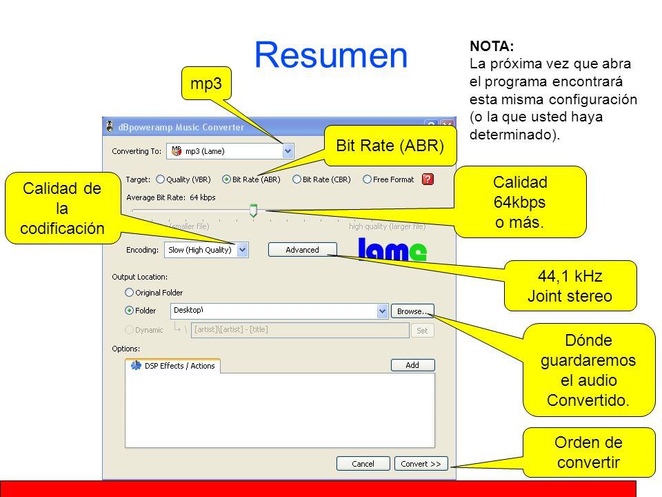 Resumen mp3 Bit Rate (ABR) Calidad 64kbps o más.