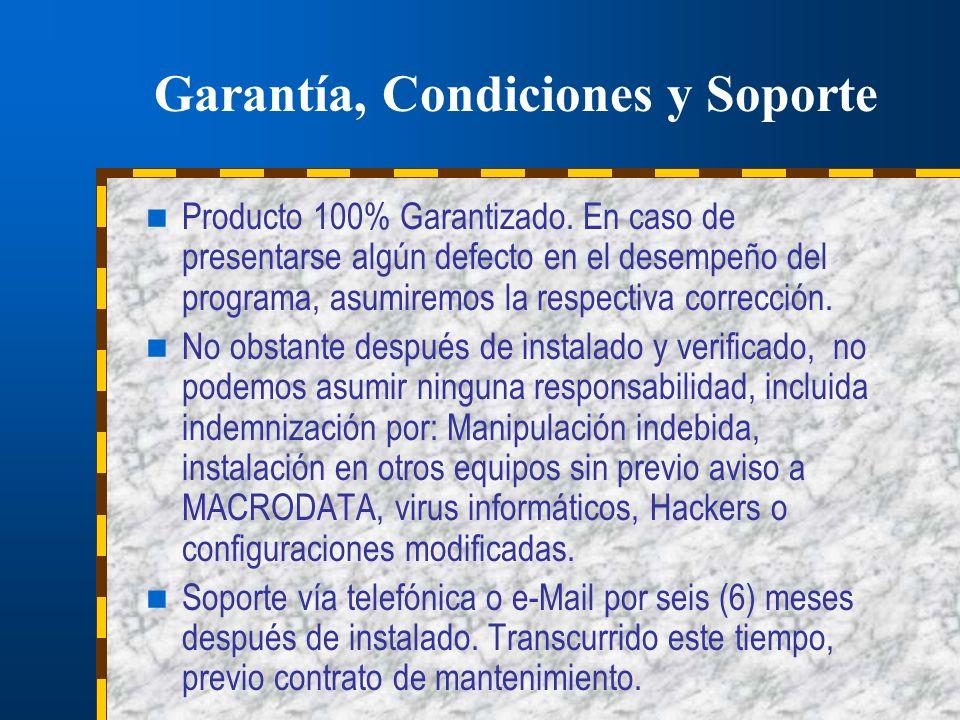 Garantía, Condiciones y Soporte