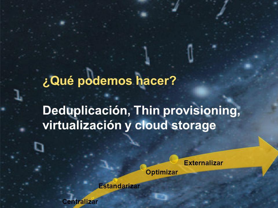 Deduplicación, Thin provisioning, virtualización y cloud storage