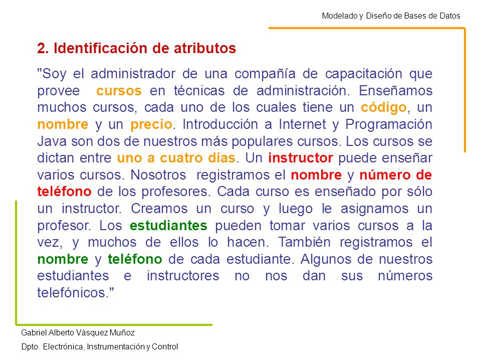 2. Identificación de atributos